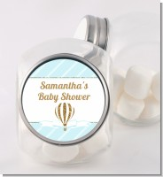 Hot Air Balloon Boy Gold Glitter - Personalized Baby Shower Candy Jar