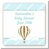 Hot Air Balloon Boy Gold Glitter - Square Personalized Baby Shower Sticker Labels