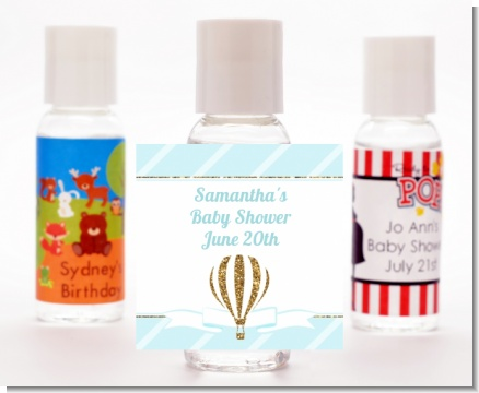 Hot Air Balloon Boy Gold Glitter - Personalized Baby Shower Hand Sanitizers Favors
