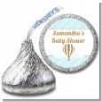 Hot Air Balloon Boy Gold Glitter - Hershey Kiss Baby Shower Sticker Labels thumbnail