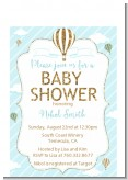 Hot Air Balloon Boy Gold Glitter - Baby Shower Petite Invitations