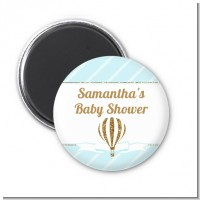 Hot Air Balloon Boy Gold Glitter - Personalized Baby Shower Magnet Favors
