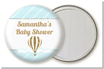 Hot Air Balloon Boy Gold Glitter - Personalized Baby Shower Pocket Mirror Favors