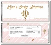 Hot Air Balloon Gold Glitter - Personalized Baby Shower Candy Bar Wrappers