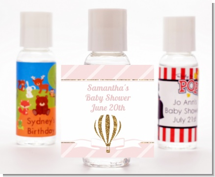 Hot Air Balloon Gold Glitter - Personalized Baby Shower Hand Sanitizers Favors
