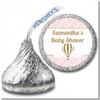 Hot Air Balloon Gold Glitter - Hershey Kiss Baby Shower Sticker Labels