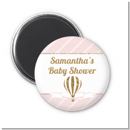 Hot Air Balloon Gold Glitter - Personalized Baby Shower Magnet Favors