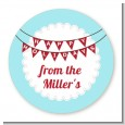 Hot Air Balloons - Round Personalized Christmas Sticker Labels thumbnail