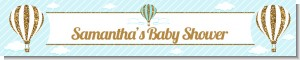 Hot Air Balloon Boy Gold Glitter - Personalized Baby Shower Banners