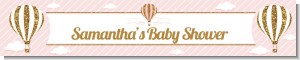 Hot Air Balloon Gold Glitter - Personalized Baby Shower Banners