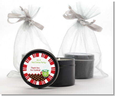 Hot Cocoa Party - Christmas Black Candle Tin Favors