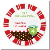 Hot Cocoa Party - Round Personalized Christmas Sticker Labels