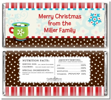 Hot Cocoa Party - Personalized Christmas Candy Bar Wrappers
