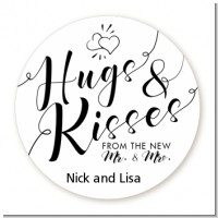 Hugs and Kisses From Mr & Mrs - Round Personalized Bridal Shower Sticker Labels