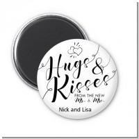 Hugs & Kisses From Mr & Mrs - Personalized Bridal Shower Magnet Favors