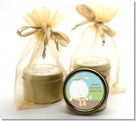Humpty Dumpty - Baby Shower Gold Tin Candle Favors