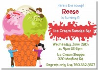 Ice Cream - Birthday Party Invitations