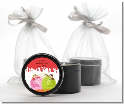 Ice Cream - Birthday Party Black Candle Tin Favors