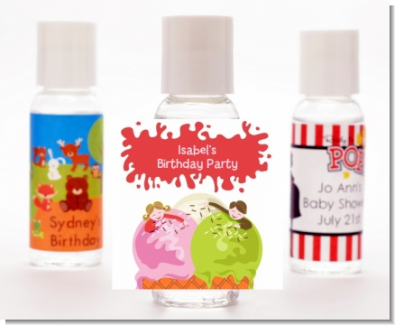 Ice Cream - Personalized Birthday Party Hand Sanitizers Favors