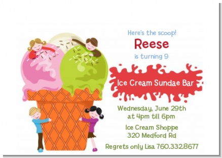 Ice Cream - Birthday Party Petite Invitations