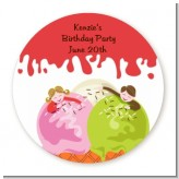 Ice Cream - Round Personalized Birthday Party Sticker Labels