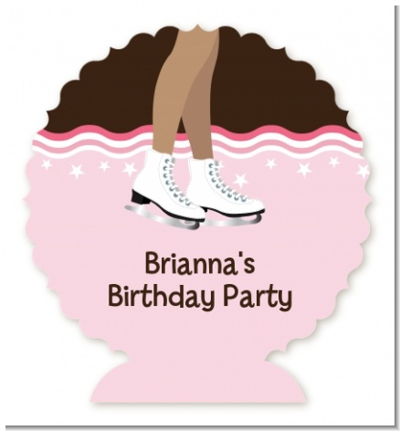 Ice Skating African American - Personalized Birthday Party Centerpiece Stand