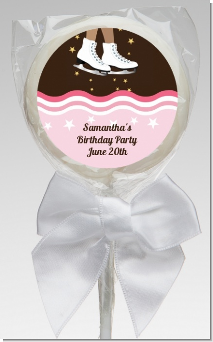 Ice Skating African American - Personalized Birthday Party Lollipop Favors