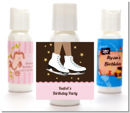 Ice Skating African American - Personalized Birthday Party Lotion Favors