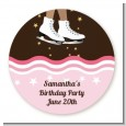 Ice Skating African American - Round Personalized Birthday Party Sticker Labels thumbnail