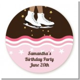 Ice Skating African American - Round Personalized Birthday Party Sticker Labels