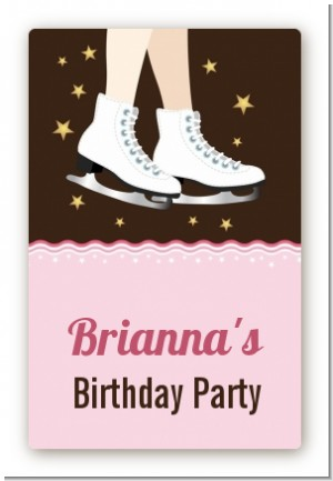 Ice Skating - Custom Large Rectangle Birthday Party Sticker/Labels