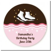 Ice Skating - Round Personalized Birthday Party Sticker Labels