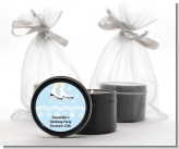Ice Skating with Snowflakes - Birthday Party Black Candle Tin Favors