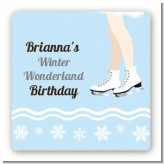 Ice Skating with Snowflakes - Square Personalized Birthday Party Sticker Labels