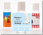 Ice Skating with Snowflakes - Personalized Birthday Party Hand Sanitizers Favors