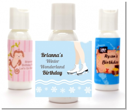 Ice Skating with Snowflakes - Personalized Birthday Party Lotion Favors