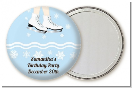 Ice Skating with Snowflakes - Personalized Birthday Party Pocket Mirror Favors