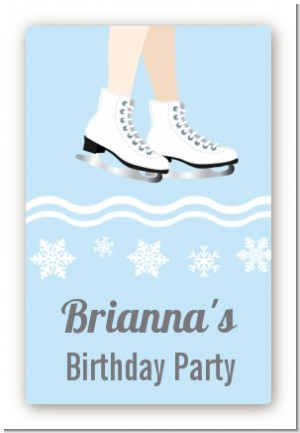 Ice Skating with Snowflakes - Custom Large Rectangle Birthday Party Sticker/Labels