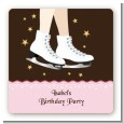 Ice Skating - Square Personalized Birthday Party Sticker Labels thumbnail