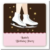 Ice Skating - Square Personalized Birthday Party Sticker Labels