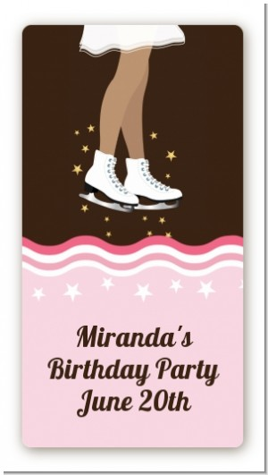 Ice Skating African American - Custom Rectangle Birthday Party Sticker/Labels