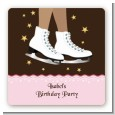 Ice Skating African American - Square Personalized Birthday Party Sticker Labels thumbnail
