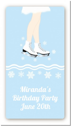 Ice Skating with Snowflakes - Custom Rectangle Birthday Party Sticker/Labels