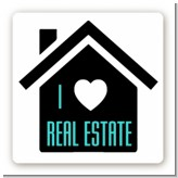 I Love Real Estate - Square Personalized Real Estate Sticker Labels