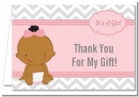It's A Girl Chevron African American - Baby Shower Thank You Cards