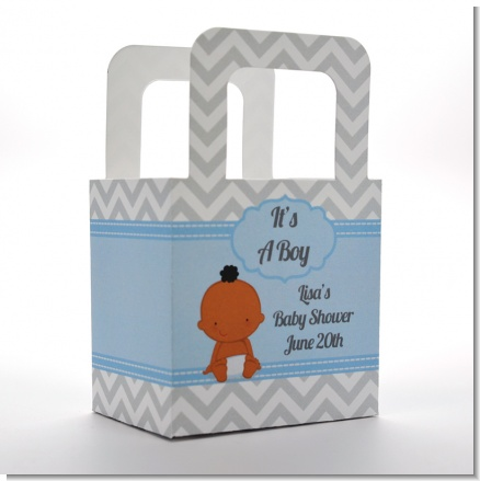 It's A Boy Chevron African American - Personalized Baby Shower Favor Boxes