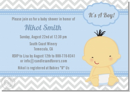 It's A Boy Chevron Asian - Baby Shower Invitations