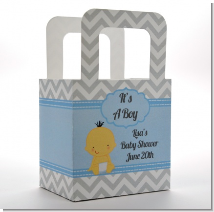 It's A Boy Chevron Asian - Personalized Baby Shower Favor Boxes