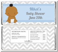 It's A Boy Chevron African American - Personalized Baby Shower Candy Bar Wrappers