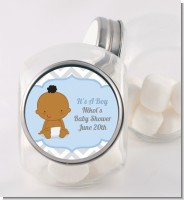 It's A Boy Chevron African American - Personalized Baby Shower Candy Jar